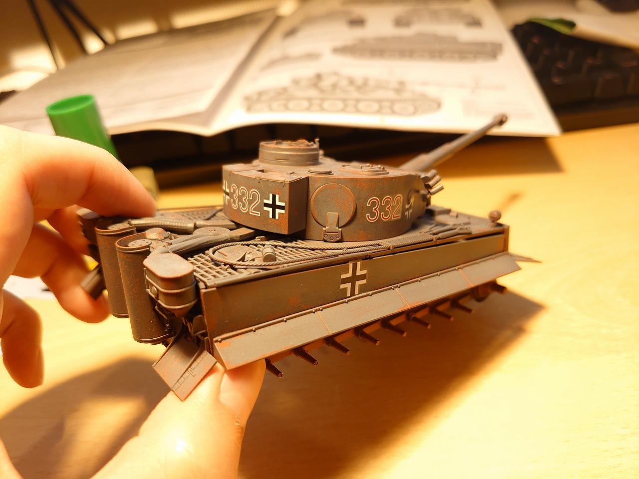 【vicカラー】タミヤの1/48タイガーⅠ初期生産型をヘアスプレーで剥がし塗装してみた