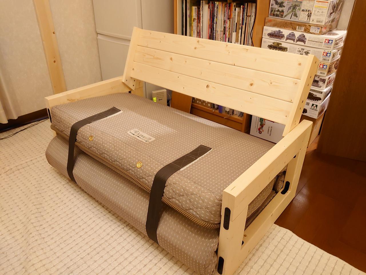 シングルベッド用のマットレスを再利用してソファーベッドを自作してみた