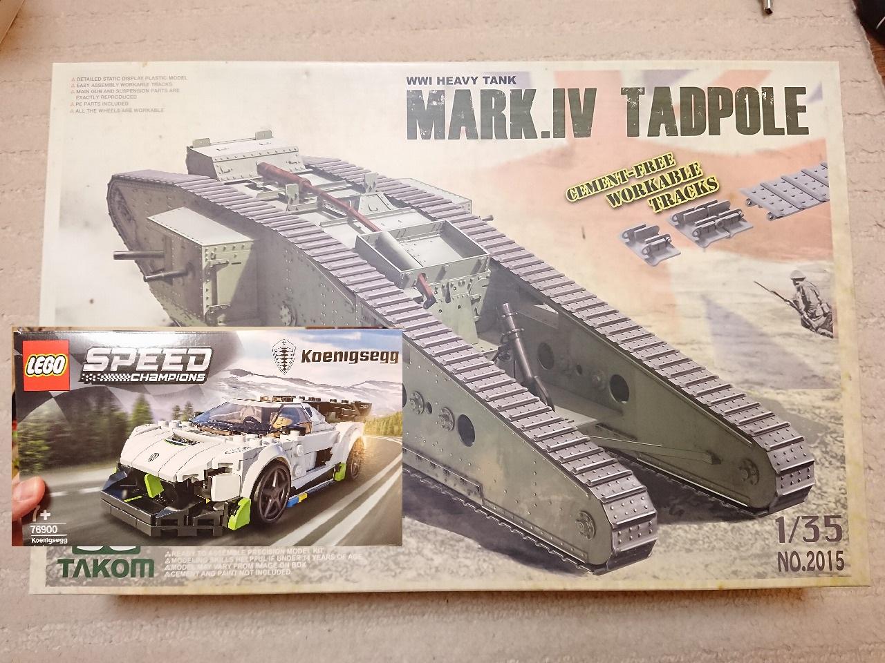 【最近購入した物】TAKOM マークIV メール タッドポールとレゴ(LEGO) スピードチャンピオン ケーニグセグ ジェスコ